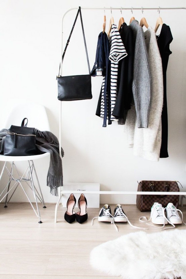 Simple and minimalist white clothing rack decoist for Minimalist living clothes