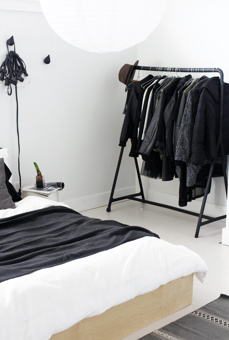 Black and white minimalist clothing rack closet