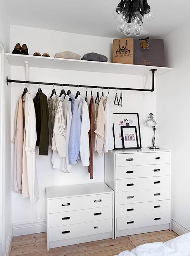 Cheap Wardrobe Closet Part - 42: ... Minimalist Open Concept Closet With White Dressers