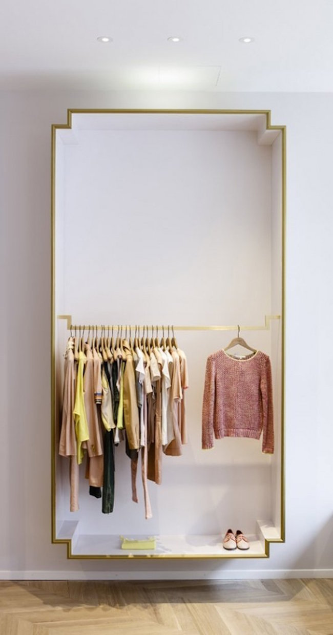 Unique box-shaped closet for open concept design