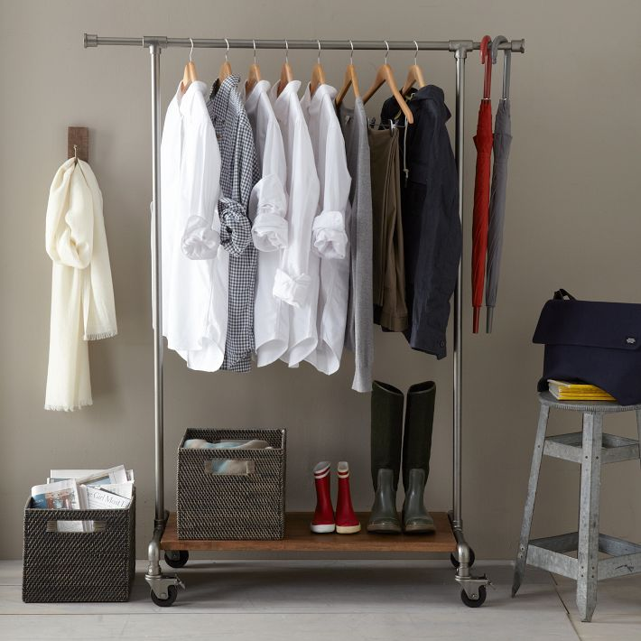 Old fashioned clothing rack used to display apparel and accessories
