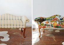 simple to bright patterned sofa 217x155 Inspiring Furniture Restoration Projects: From Blah to Rad