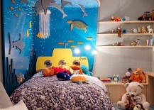 3D under the sea headboard makes for a delightful addition in the kids room 217x155 Beyond Paint: 30 Inventive Ways to Add Color to the Kids' Bedroom
