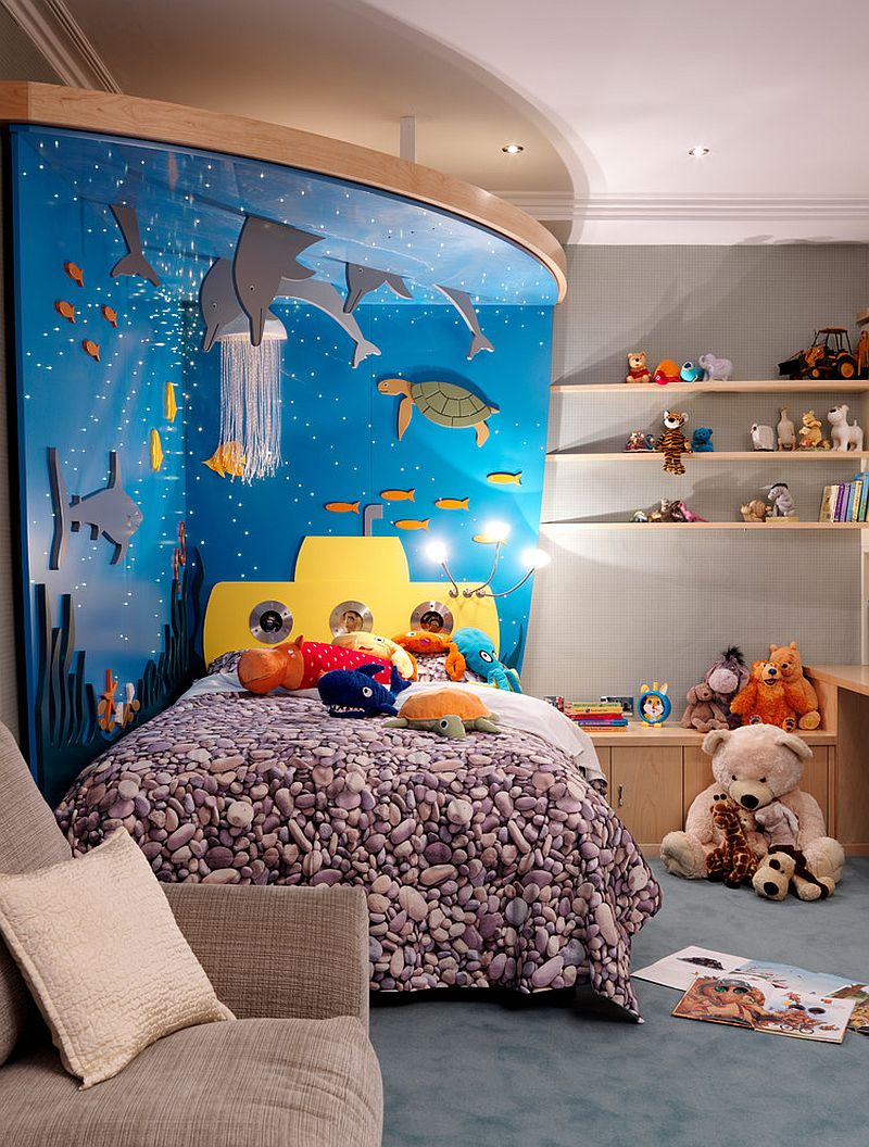 3D under the sea headboard makes for a delightful addition in the kids' room [Design: Posh Playrooms]