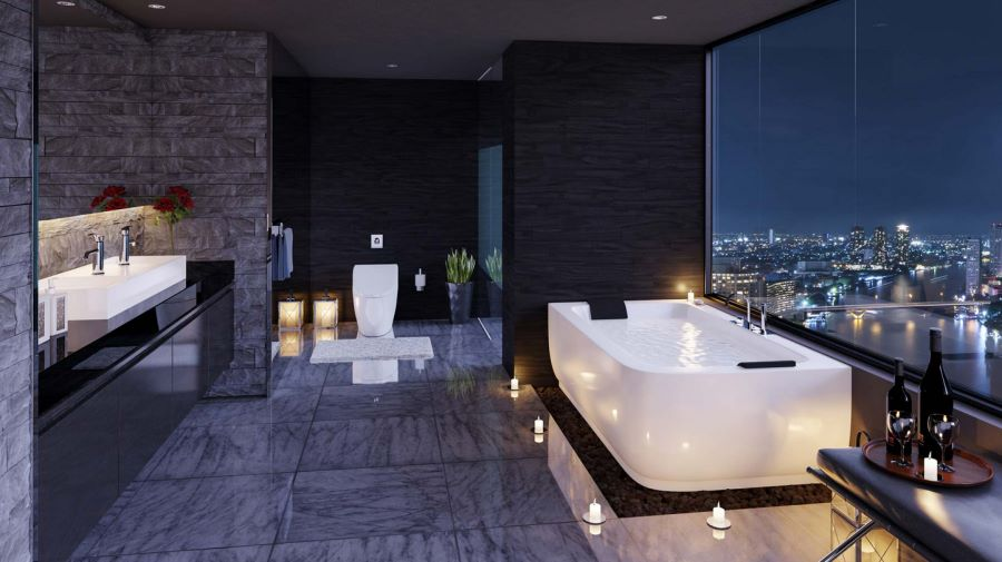 3D visualization of a chic bathroom with a city view