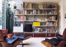 large modular shelving system in living room