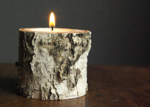 A tealight fits right inside the birch wood