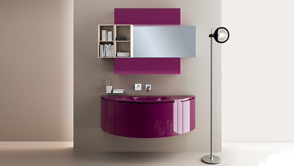 A touch of purple enlivens the entire bathroom