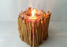 A twig candle holder is an easy DIY project 217x155 8 Easy DIY Wood Candle Holders for Some Rustic Warmth This Fall