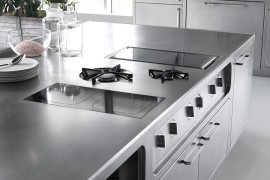 Abimis professional kitchen island with built-in appliances and stainless steel gloss