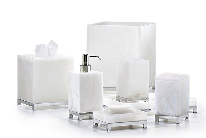 View in gallery Alabaster and chrome bathroom accessories. High End Bathroom Accessories with Modern Style