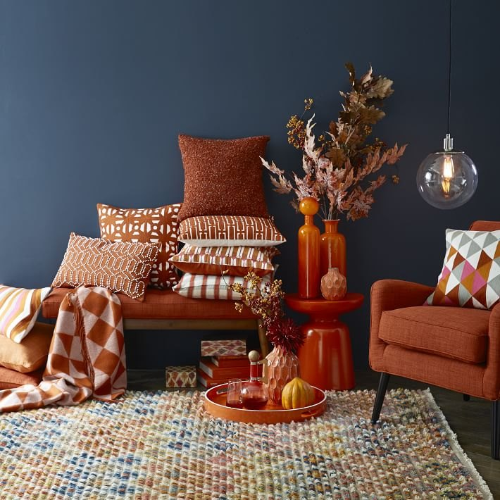 An array of rust-toned accessories from West Elm