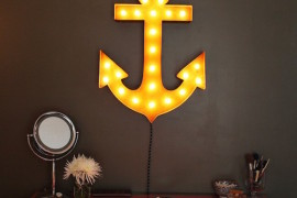 Anchor marquee sign hung above dresser  22 Illuminating Vintage Marquee Lighting Ideas Anchor marquee sign hung above dresser 270x180