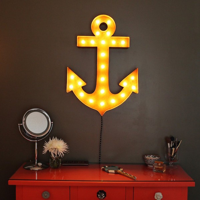 Anchor marquee sign hung above dresser