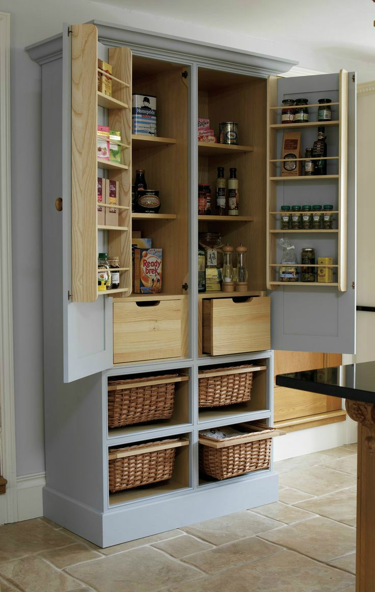 Armoire repurposed as a kitchen pantry