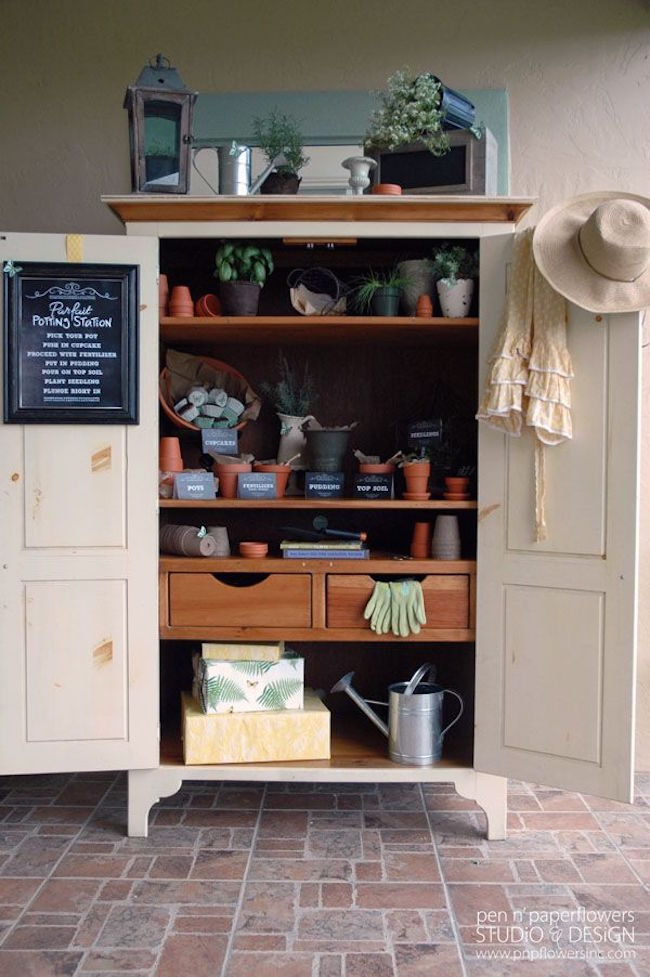 Armoire repurposed for gardening supply storage