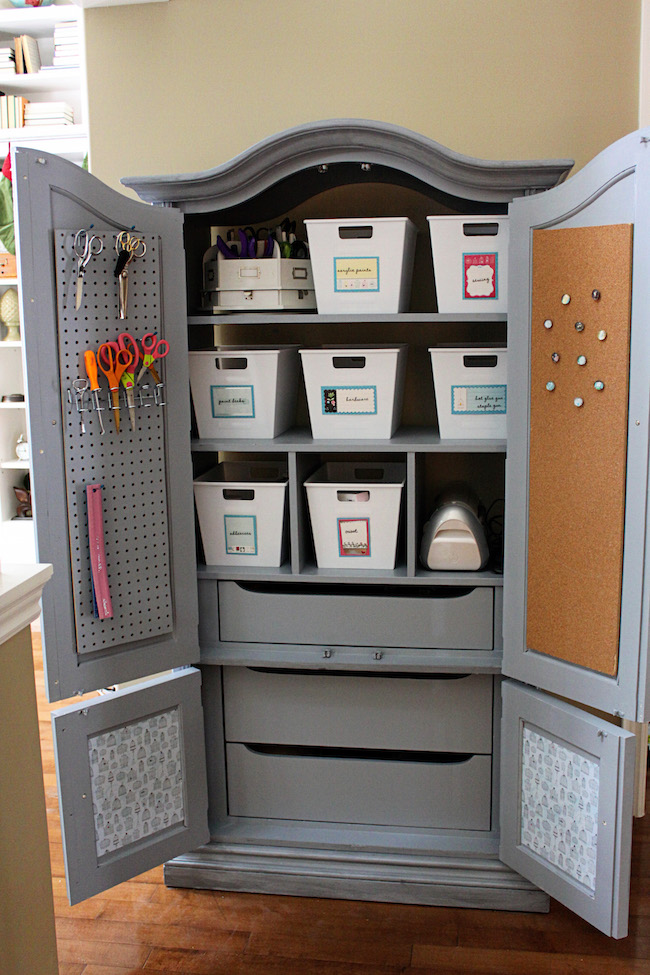 Armoire repurposed for organized storage
