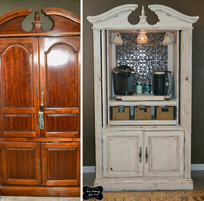 Armoire used as a coffee bar