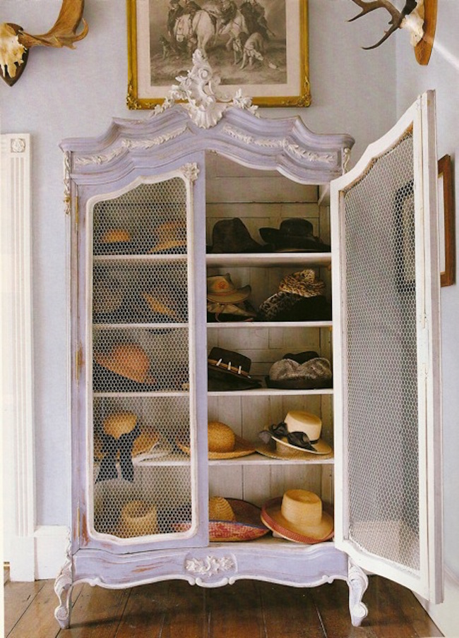 Armoire used to store and display hats