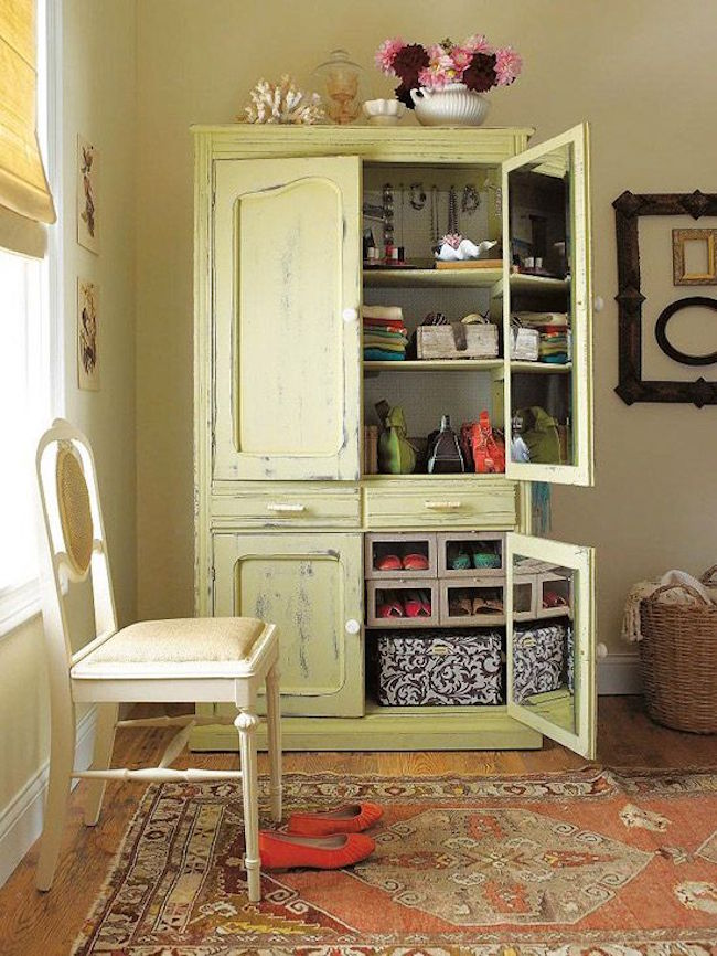 Armoire used to store jewelry, purses, and other fashion accessories