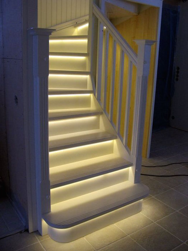 Basement stairs with LED lighting
