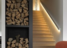 Basement stairway with LED light strip along railing 217x155 15 Modern Staircases with Spectacular Lighting