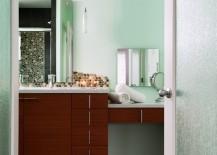 Bathroom doors featuring rain glass