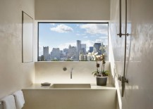 Bathroom window with a city view