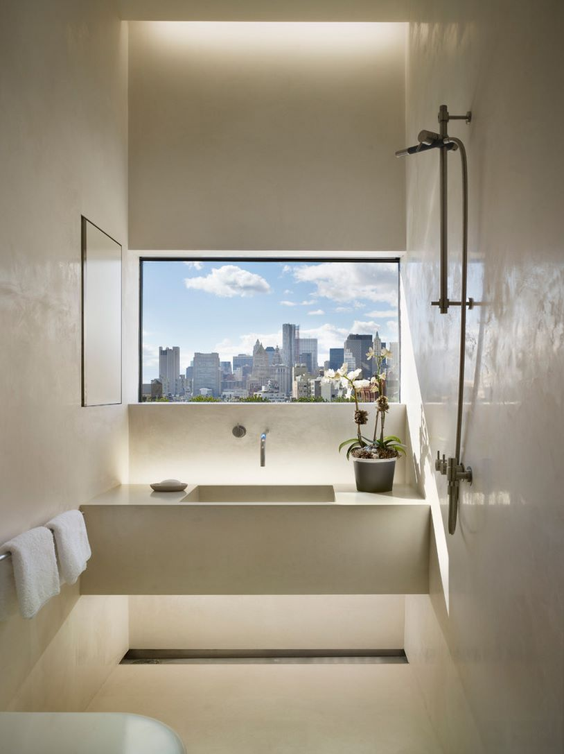 Bathroom window with a city view  Spectacular Bathroom Design with a View Bathroom window with a city view