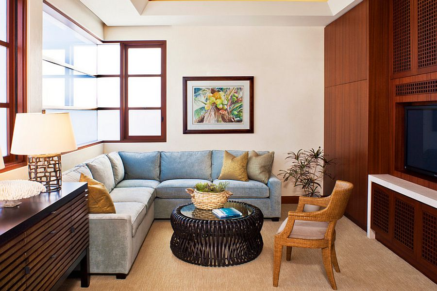 Beach style TV room with a comfy sectional [Design: Jeremy Harnish Designer Finishes]