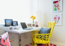 Beach style home office with colorful, yellow chair