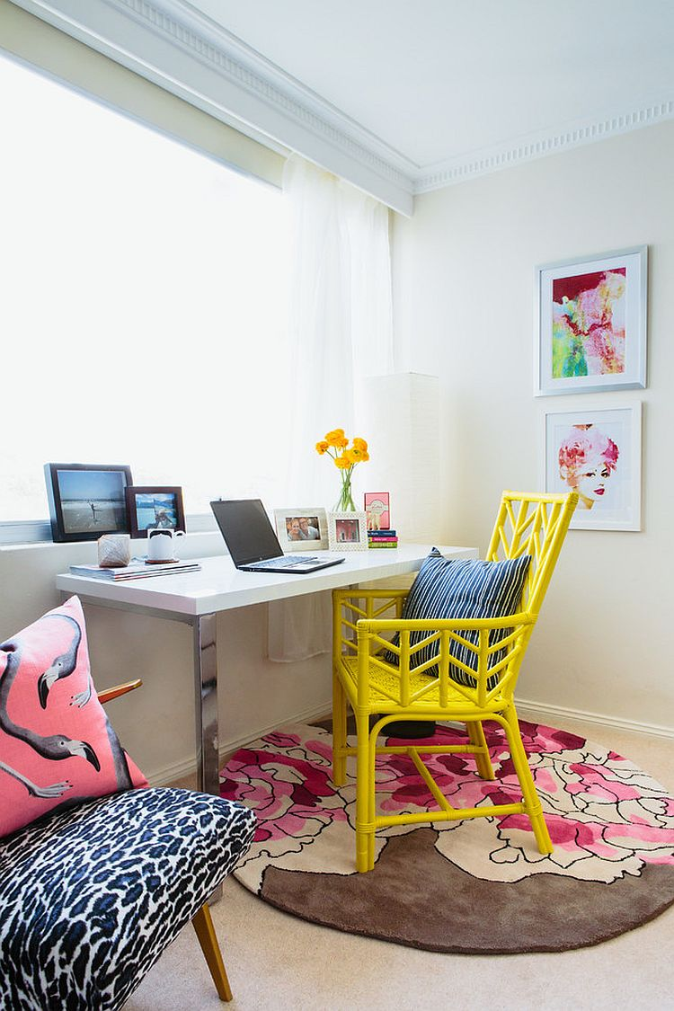 Beach style home office with colorful, yellow chair [Design: The Home]