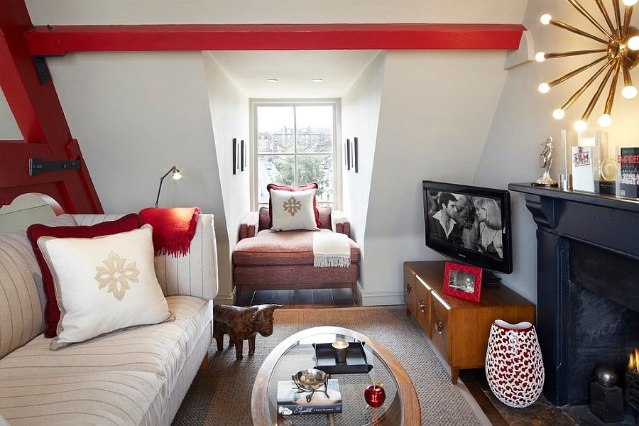 Beautiful TV room idea for the small attic space [Design: Naomi Astley Clarke]