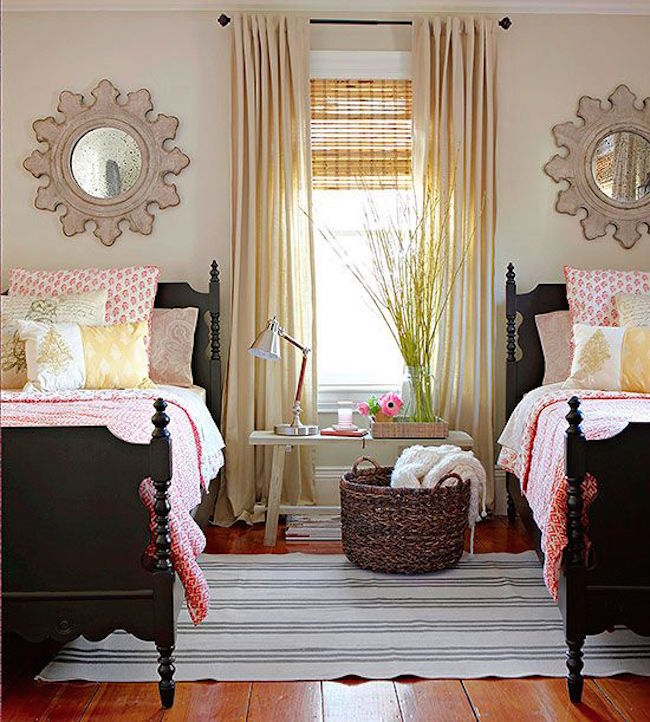 Beautiful country living guest room with twin beds