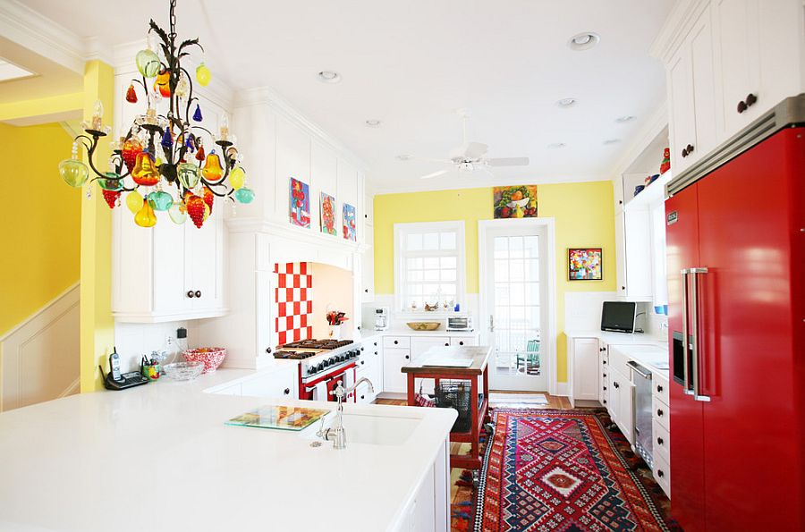 Beautiful kitchen with plenty of color and pattern [Design: Echelon Custom Homes]