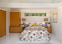 Bedding adds color and pattern to an otherwise neutral setting