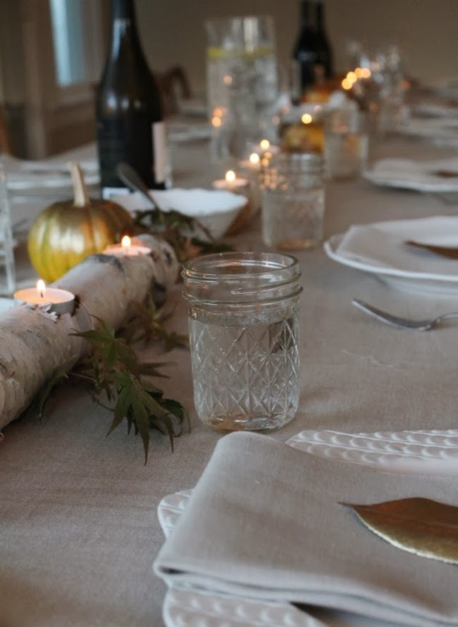 Birch candle holders make a wonderful addition to a dining table