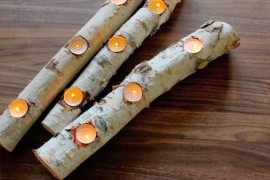 Birch log candle holder for tealights