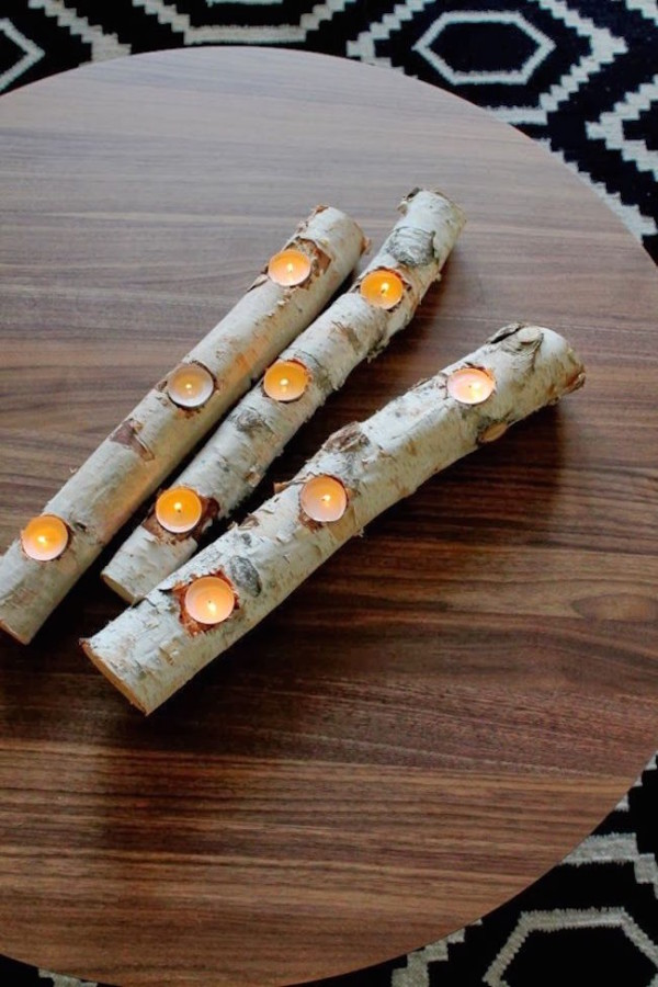 Birch log candle holder for tealights decoist for Log candles diy