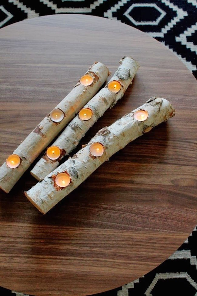 Birch log candle holder for tea lights