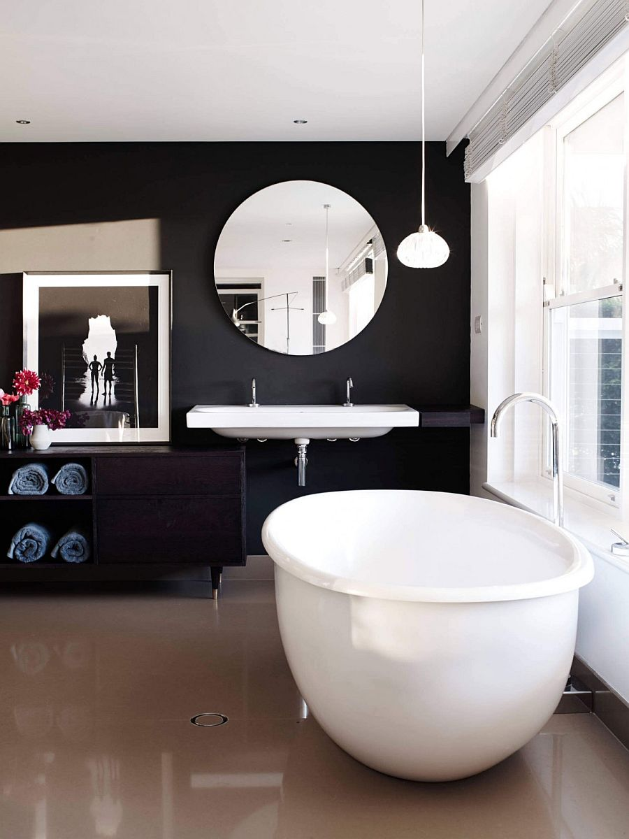 Black and white glamorous bathroom idea urbane minimal design sculptural decor enlivens posh beachside sydney