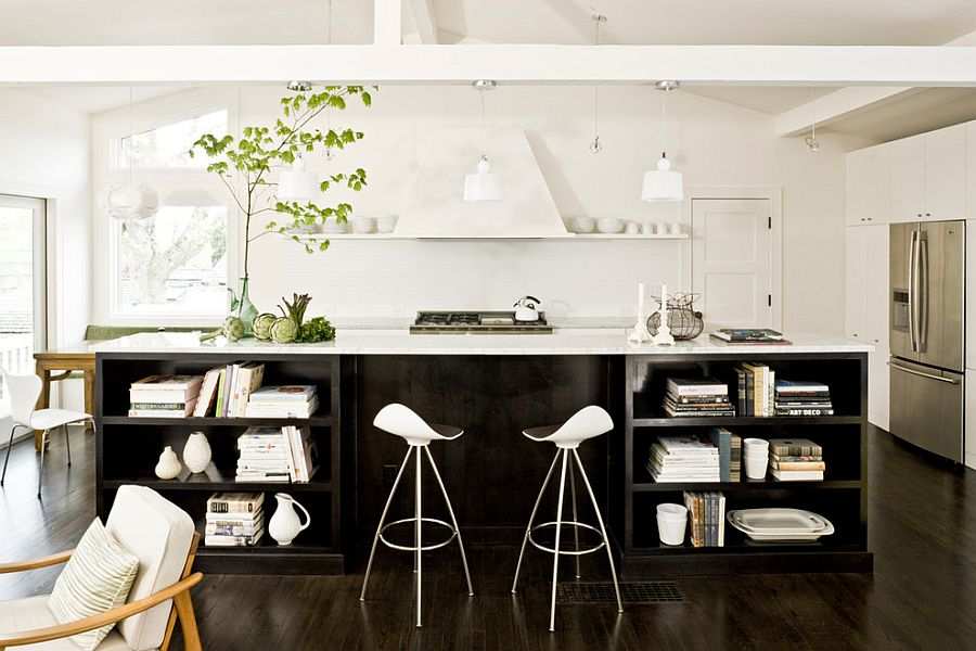 Black and white kitchen design with a modern twist