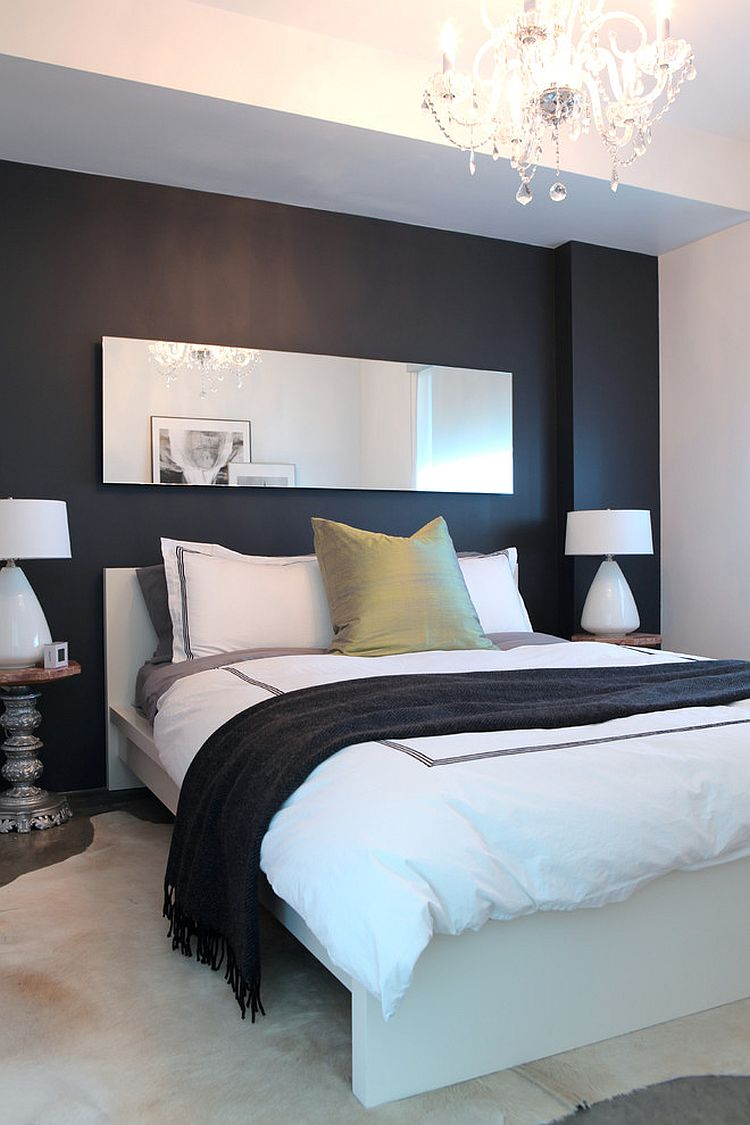... Black Chalkboard Paint Wall Left Untouched In The Contemporary Bedroom  [Design: Stephanie Brown Inc