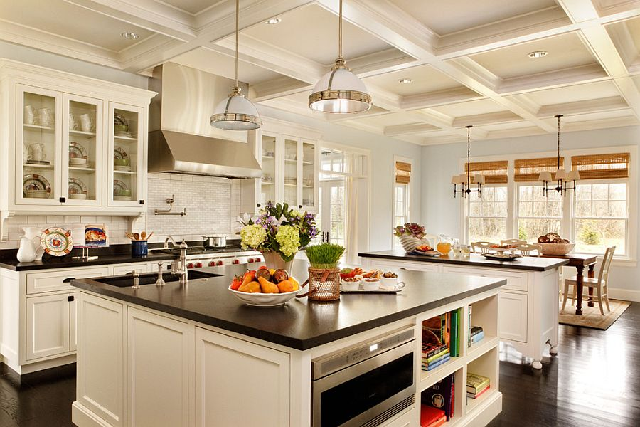 Black Granite Countertop Makes A Big Visual Impact In A Kitchen Draped In White Design