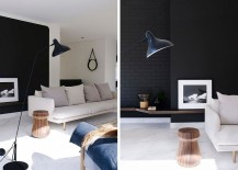 Black walls and floatings shelves coupled with decor in lighter hues 217x155 Urbane Minimal Design: Sculptural Decor Enlivens Posh Beachside Sydney Home