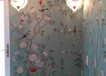 Blue Chinoiserie Paper Bathroom with Sconces
