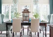 Blue and White Airy Dining Room with Bird Cage Centerpiece 217x155 8 Ways to Incorporate the Chic Look of Chinoiserie into Your Home