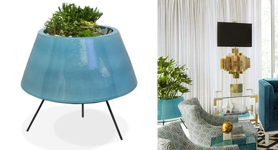 Blue mod planter from Jonathan Adler