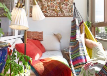 Bohemian-style sunroom with hammock