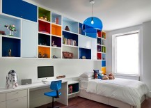 Boys' bedroom with multi-colored shelves and FLY Suspension Light in Blue